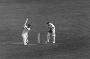 Neil Harvey drives a ball drom Ray Illingworth, England v Australia, first Test, Edgbaston, 9 June 1961