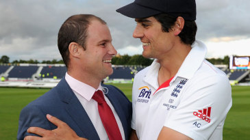 Alastair Cook gets a handshake from Andrew Strauss