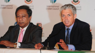 ICC CEO Dave Richardson and BCB president Nazmul Hassan address the media