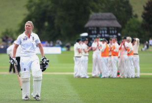 Heather Knight walks off the field after a mammoth 157, England Women v Australia Women, Only Test, 3rd day, Wormsley, August 13, 2013