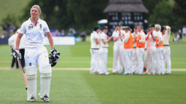 Heather Knight walks off the field after a mammoth 157