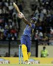Raymon Reifer goes over the top, Antigua Hawksbills v Barbados Tridents, CPL, North Sound, August 13, 2013