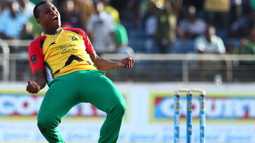 Christopher Barnwell celebrates after bowling Guyana to victory