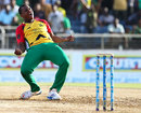 Christopher Barnwell celebrates after bowling Guyana to victory, Jamaica Tallawahs v Amazon Guyana Warriors, Caribbean Premier League 2013, Kingston, August 15, 2013