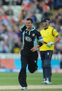 Zander de Bruyn produced a superb yorker to bowl Jimmy Adams, Hampshire v Surrey, Friends Life t20, semi-final. Edgbaston, August 17, 2013