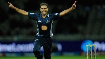 Azharullah celebrates the wicket of Azhar Mahmood