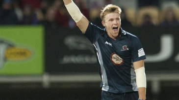 David Willey tears away in celebration of a hat-trick