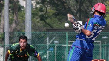 Bilawal Bhatti bowls a short ball at Hashmatullah Shaidi