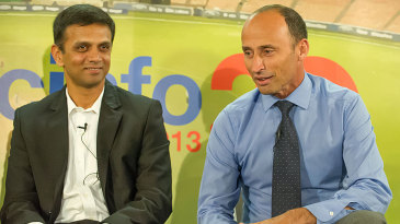 Rahul Dravid and Nasser Hussain at a panel discussion