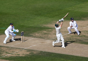 Steven Smith advances to hit down the ground, England v Australia, 5th Investec Test, The Oval, 1st day, August 21, 2013
