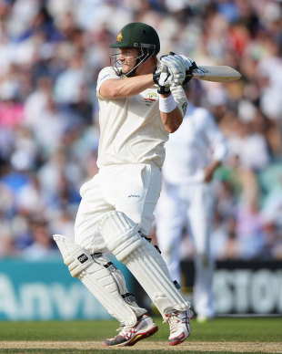 Shane Watson pulls away another short delivery, England v Australia, 5th Investec Test, The Oval, 1st day, August 21, 2013