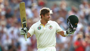 Shane Watson acknowledges the crowd after falling for 176