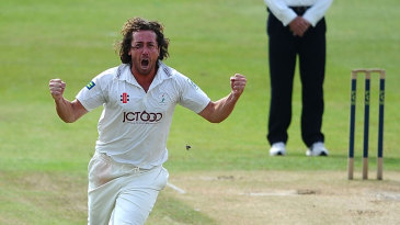 Ryan Sidebottom celebrates a wicket