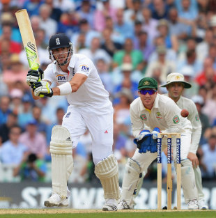 Kevin Pietersen struggled to flourish on a slow wicket but made a valuable half-century