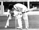 Bruce Edgar ducks to a ball from Bob Willis, England v New Zealand, 2nd Test, Trent Bridge, August 14, 1978