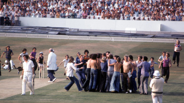 Geoff Boycott is surrounded by fans after completing his 100th first-class hundred