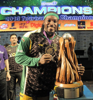 Chris Gayle poses with the trophy, Jamaica Tallawahs v Guyana Amazon Warriors, Caribbean Premier League 2013, final, Port-of-Spain, August 24, 2013