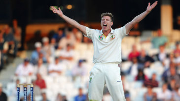 James Faulkner roars an appeal to have Jonathan Trott lbw