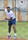 Rakesh Dhurv bowls during an India A practice session, Visakhapatnam, August 27, 2013