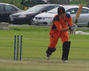 Kenneth Kamyuka castled Daan van Bunge's stumps with his first international delivery for Canada, Canada v Netherlands, ICC World Cricket League Championship,  King City, August 27, 2013