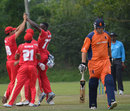Kenneth Kamyuka celebrates the dismissal of Daan van Bunge, Canada v Netherlands, ICC World Cricket League Championship,  King City, August 27, 2013