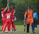 Kenneth Kamyuka celebrates the dismissal of Daan van Bunge, Canada v Netherlands, ICC World Cricket League Championship,  King City, August 27, 2013
