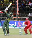 Umar Amin lofts one down the ground, Zimbabwe v Pakistan, 2nd ODI, Harare, August 29, 2013