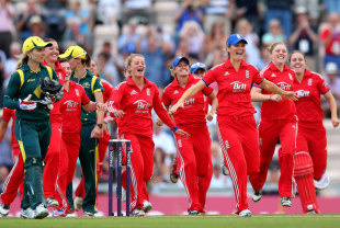 Charlotte Edwards led the charge as England celebrated victory, England v Australia, 2nd women's T20, Ageas Bowl, August 29, 2013