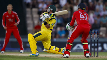 Aaron Finch launches Joe Root into the stands