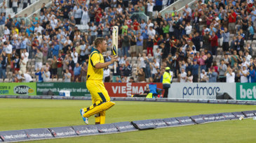 Aaron Finch takes the applause after making the highest T20 international score