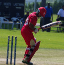 Hiral Patel was bowled for a duck off the second ball of the match, Canada v Netherlands, World Cricket League Championship, King City, August 29, 2013