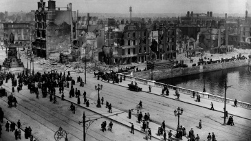 A view of Sackville Street and River Liffey at Eden Quay in the aftermath of the Easter Rising in Dublin