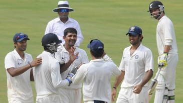 Rakesh Dhurv is congratulated after dismissing Corey Anderson