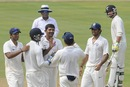 Rakesh Dhurv is congratulated after dismissing Corey Anderson, India A v New Zealand A, 2nd unofficial Test, Visakhapatnam, Sep 2, 2013