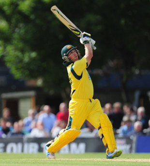 Aaron Finch tees off down the ground, Scotland v Australia, only ODI, Edinburgh, September 3, 2013