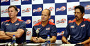 Gary Kirsten with Eric Simons (left) and TA Sekar at a press conference, announcing his appointment as coach of Delhi Daredevils, Hyderabad, September 3, 2013