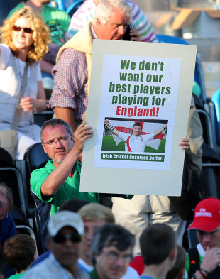 An Ireland supporter makes his feelings known, Ireland v England, one-off ODI, Malahide, September 3, 2013