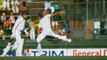 Jeff Thomson bowls