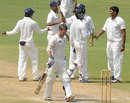India A celebrate the wicket of Carl Cachopa, India A v New Zealand A, 2nd unofficial Test, 4th day, Visakhapatnam, September 5, 2013