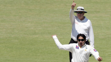 Saeed Ajmal exults after taking a wicket
