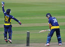 Adam Wheater held an edge from Gareth Rees, Hampshire v Glamorgan, YB40 semi-final, Ageas Bowl, September 7, 2013