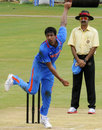 Rahul Sharma bowls against New Zealand A, India A v New Zealand A, 1st unofficial ODI, Visakhapatnam, September 8, 2013