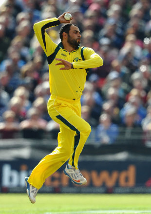 Fawad Ahmed did not have a fruitful day, England v Australia, 2nd NatWest ODI, Old Trafford, September 8, 2013
