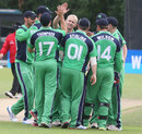 Eddie Richardson celebrates his first international wicket for Ireland, Ireland v Scotland, ICC World Cricket League Championship, Belfast, September 8, 2013