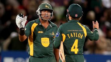 Samit Patel and James Taylor celebrate Nottinghamshire's win
