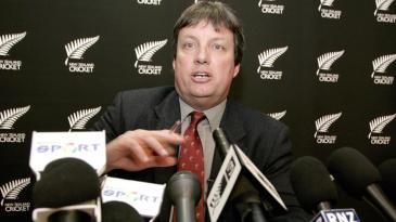 Martin Snedden, New Zealand Cricket's chief executive, addresses the media