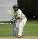 John Anderson prepares for a shot, Ireland v Scotland, ICC Intercontinental Cup, 3rd day, Dublin, September 13, 2013