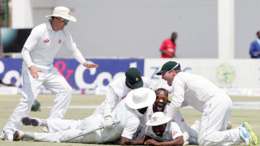 The Zimbabwe players couldn't control their joy after beating Pakistan