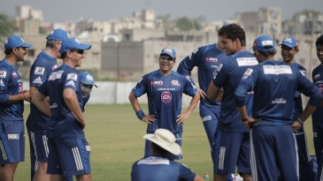 Sachin Tendulkar has a laugh while training