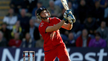 Jos Buttler hit Mitchell Johnson for a towering six in the final over